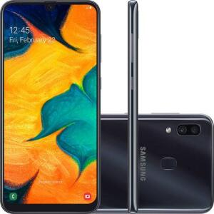 "[SUBMARINO] Smartphone Samsung Galaxy A30 64GB Dual Chip Android 9.0 Tela 6.4"" Octa-Core 4G Câmera 16MP + 5MP - Preto R$1179"