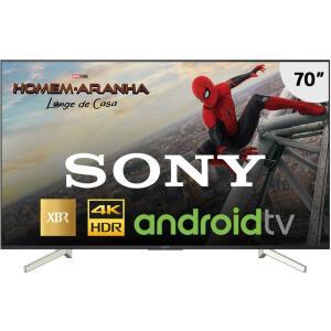 """Smart TV Android LED 70"""" Sony XBR-70X835F Ultra HD 4k com Conversor Digital 4 HDMI 3 USB Wi-Fi Miracast - Preta - R$5199"""