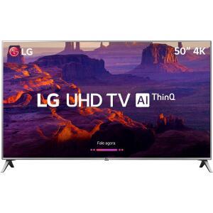"Smart TV LED 50"" LG 50UK6510 Ultra HD 4k com Conversor Digital 4 HDMI 2 USB Wi-Fi ThinQ AI WebOS 4.0 60Hz - Prata - R$1999"