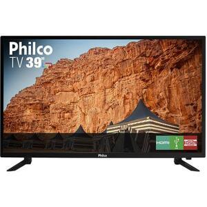 """[Retirada em Loja] TV LED 39"""" Philco HD com Conversor Digital 3 HDMI 1 USB Som Surround 60Hz - Preta - R$790"""