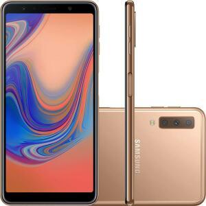 "Smartphone Samsung Galaxy A7 64GB Dual Chip Android 8.0 Tela 6"" Octa-Core 2.2GHz 4G Câmera Triple - Cobre - R$1099"