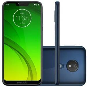 "Smartphone Motorola Moto G7 Power XT1955, Android 9.0 32GB Câmera 12 MP Tela 6.2"", Azul Navi | R$899"
