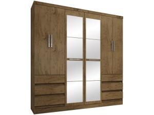 Guarda-roupa Casal 6 Portas 6 Gavetas Araplac - 217729-88 com Espelho por R$ 675