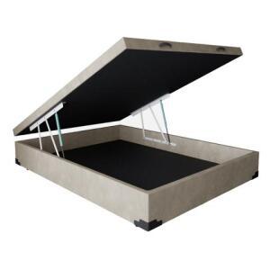 Base para Cama Box Casal Premium com Baú Suede Bege | R$391