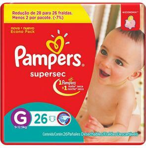 Fraldas Descartáveis Pampers Supersec G - 26 Unidades - R$3