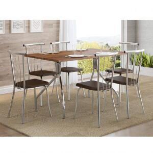 Mesa de Jantar Retangular 6 Lugares 1556 Carraro Não Acompanha Cadeiras Native Cromado | R$225