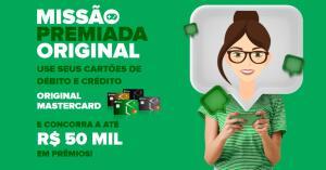 Use seus cartões de crédito ou débito do Banco Original e concorra a até R$50.000 em prêmios