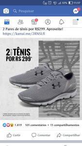 2 pares de tenis por 299