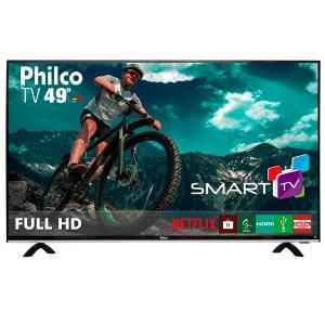 "Smart TV Full HD LED 49"" Philco PTV49E68DSWN Full HD 3 HDMI 2 USB Preta - R$1.399"