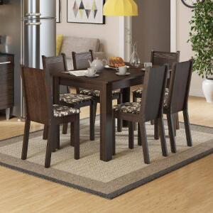 Conjunto Para Sala De Jantar Mesa E 6 Cadeiras Maris Madesa Tabaco/ Cacau por R$ 518
