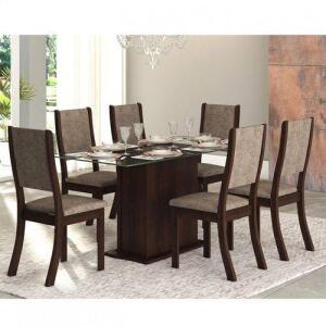 Conjunto Sala de Jantar Mesa Tampo em Vidro Desirê 6 Cadeiras Kiara New Viero Choco/Canela | R$637