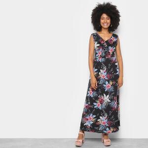 Vestido Longo Sofia Fashion Floral - Preto | R$40