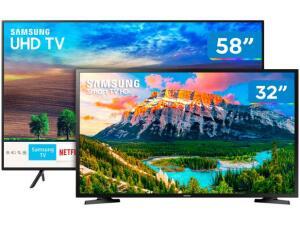 "Smart TV 4K LED 58"" Samsung UN58NU7100GXZD - Wi-Fi 3 HDMI 2 USB + Smart TV LED 32"" 2 HDMI 1 USB por R$ 3500"