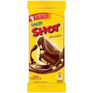 6 Barras de Chocolate SHOT Ao Leite Lacta 90g R$6