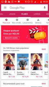 Google Play Filmes - Aluguel de filmes por R$3,90