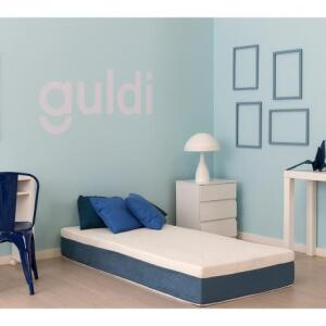Colchão Solteiro Mola Ensacada Guldi Branco e Azul - R$630