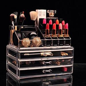 Organizador Porta Maquiagem Pincel Batom Acrílico Kit de 3 Gavetas - R$48