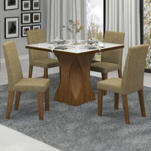 Mesa de Jantar 4 Lugares Frevo Com Vidro Branco 11556 Seda/Neve - Mobilarte Móveis | R$540