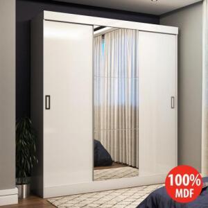 Guarda-roupa 3 Portas de Correr 100% MDF Emily Plus Com Espelho 27199 Branco | R$540