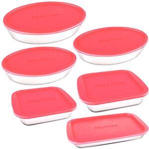 Conjunto de Assadeiras Tampas Rosa da Marinex, 6 Peças, Vidro - R$102