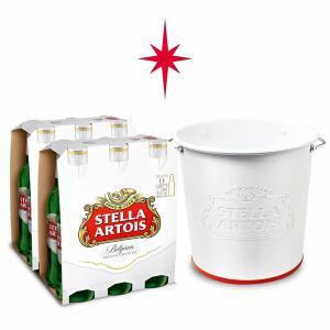 Kit Stella Artois 2 packs (12 Unidades) + Balde Alto Relevo | R$90