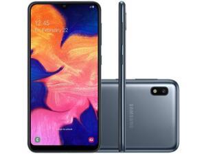 "Smartphone Samsung Galaxy A10 32GB Preto 4G - 2GB RAM 6,2"" Câm. 13MP + Câm. Selfie 5MP R$606"