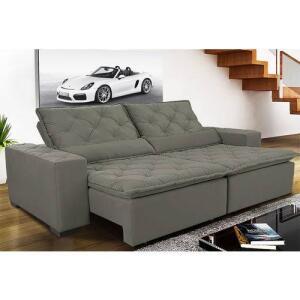 Sofá Magnum 2,42m Retrátil, Reclinável Com Molas No Assento E Almofadas Lombar Tecido Suede Grafite - Cama Inbox | R$1336