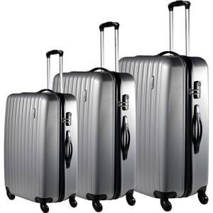 Conjunto de Malas 3 Peças (P, M e G) Prata em ABS e Giro 360º - Travel Max | R$380