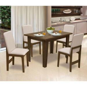 Conjunto De Mesa Miami Para Sala De Jantar Com 04 Cadeiras Roma Castanho/bege - Dobuê | R$490