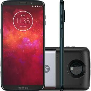 "Smartphone Motorola Moto Z3 Play - Power Pack & Dtv Edition Dual Chip Android Oreo - 8.0 Tela 6"" GHz 64GB 4G - Índigo (1x AME R$1116)"