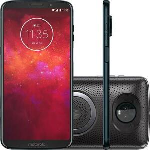 "Smartphone Motorola Moto Z3 Play - Stereo Speaker Edition Dual Chip Android Oreo - 8.0 Tela 6"" 64GB 4G - Índigo (1x AME R$1116)"
