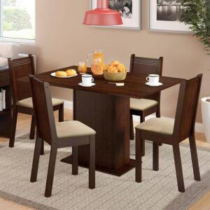 Conjunto Sala de Jantar Lexy Madesa Mesa Tampo de Madeira com 4 Cadeiras | R$304