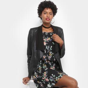 Jaqueta Drezzup Suede Assimétrica Feminina - Preto R$100
