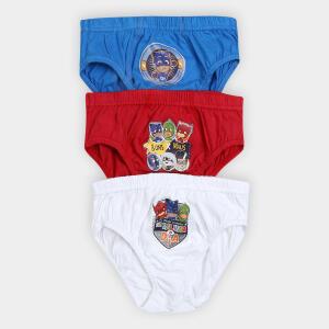 Cueca Infantil Lupo Slip PJ Masks Kit com 3 unidades - Azul e Vermelho R$20