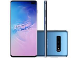 "Smartphone Samsung Galaxy S10+ 128GB Azul 4G - 8GB RAM Tela 6,4"" Câm. Tripla + Câm. Selfie Dupla | R$3.150"