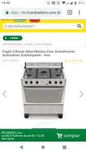 Fogão 5 Bocas Atlas Mônaco Com Acendimento Automático Autolimpante - Inox  Cód: 1065933