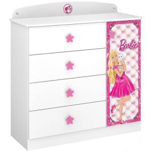 Cômoda Infantil Barbie Star c/ Pedras Decorativas e Puxadores Temáticos |Pura Magia R$215