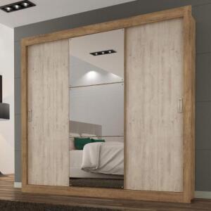 Guarda Roupa Casal com Espelho 3 Portas 3 Gavetas Flex Color Smart Maxel Ipê Tex/Vanilla Tex por R$ 580