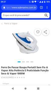 Ferro De Passar Roupa Portatil Sem Fio A Vapor Alta Potência E Praticidade Função Seco & Vapor 1000W