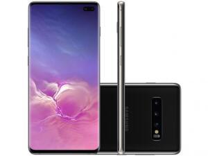 "Smartphone Samsung Galaxy S10+ 128GB Preto 4G - 8GB RAM Tela 6,4"" Câm. Tripla + Selfie Dupla | R$3779"