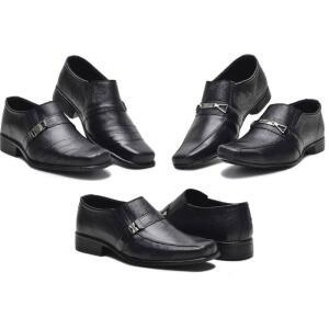 Kit 3 Pares Sapato Social Masculino Couro Dia a Dia Conforto - R$100