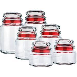 Potes de Vidro Multiuso 6 Peças Vermelho - Euro Home - R$60