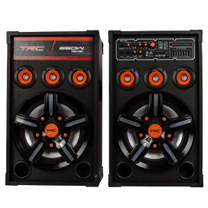 Caixa de Som Amplificada TRC 389 Bluetooth, USB, Entrada para Microfone, Rádio FM e Iluminação 650W | R$649