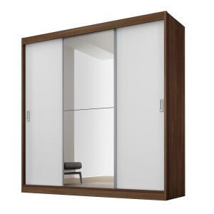 Guarda-Roupa Fama Flórida Plus com 3 Portas de Correr, 4 Gavetas e Espelho por R$ 549