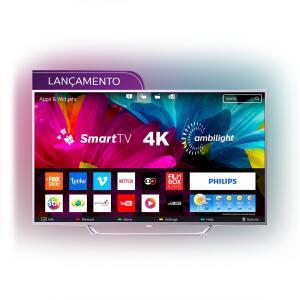 "Smart TV LED Ambilight 65"" Philips 65PUG6412/78 Ultra HD 4k com Conversor Digital 4 HDMI 2 USB Wi-Fi 60Hz - Prata - R$3409"