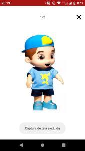 Boneco Lucas neto azul que fala 14 frases.