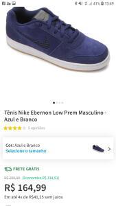 Tênis Nike Ebernon Low Prem Masculino - Azul e Branco