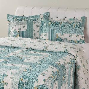Colcha Casal Boutis Maldivas com 2 Porta Travesseiros - Casa & Conforto R$80