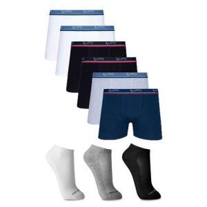 [AME R$ 79,92] - Kit 6 Cuecas Lupo Boxer Algodão 523 + 3 pares de meia Ted Socks 1500