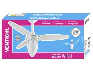 Ventilador de Teto Ventisol Wind 3 Pás Branco - para 1 Lâmpada por R$ 100